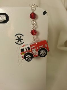 Fire truck cell phone charm dust plug headphone jack kawaii earcap iphone charm ipad tablet smartphone galaxy pluggy firefighter ($6.00 USD)
