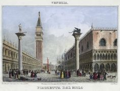 Venezia, Piazzetta dal Molo (National Library of Poland - 1847, lithography)