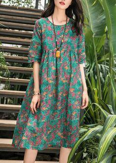 French green print linen Robes Omychic pattern o neck wrinkled cotton Summer Dress - #cotton #dress #French #Green #Linen #Neck #Omychic #pattern #Print #Robes #Summer #wrinkled