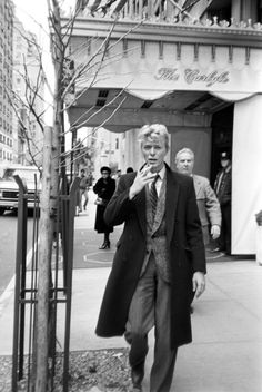 David Bowie outside the Carlyle Hotel on the Upper East Side, circa 1980.