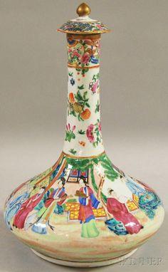 Chinese Export Porcelain Rose Mandarin Bottle,