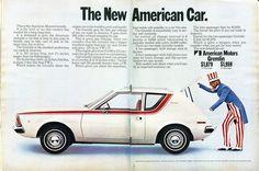 The New American Car: a 1970 ad for the AMC Gremlin. Amc Gremlin, Time Magazine, Magazine Ads, Pontiac Aztek, Old Advertisements, Car Advertising, Hummer, General Motors, Breaking Bad