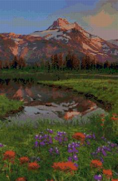 Oregon Mount Jefferson landscape Cross Stitch pattern PDF - Instant Download! by PenumbraCharts on Etsy