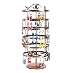 Soriace® Rotation Jewellery Display Stand, Earrings Holder Stand, Jewelry/Necklace/Bracelet Storage Organiser, Round