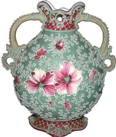 BEADED MORIAGE DBL HANDLED VASE IN ROSE MOTIF 4225