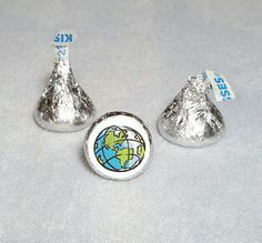 Earth Globe Map Hershey Kiss Stickers by LabelsandStickers on Etsy