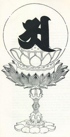 Prajñāpāramitā Sūtra in one syllable. Rune Symbols, Buddhist Symbols, Tibetan Art, Tibetan Tattoo, Lotus Sutra, Buddha Art, Zen Art, Flash Art, Woodblock Print