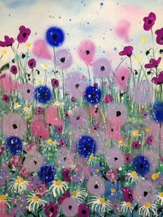 ARTFINDER: Crazy poppies and daisies by Jane Morgan - This painting was inspired by how much I enjoyed painting crazy poppies! Lots of lovely purple and pink colours with silver glitter trails and splashes. I us...