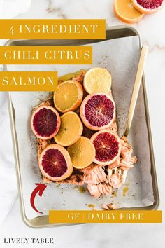 Slow roasted chili blood orange salmon is a flavorful, healthy, easy salmon recipe that is ready in less than 30 minutes with just 4 simple ingredients! (gluten-free, dairy-free) Delicious Salmon Recipes, Easy Salmon Recipes, Healthy Dinner Recipes, Whole Food Recipes, Cooking Recipes, Seafood Recipes, Salmon Seasoning, Healthiest Seafood, Roasted Salmon