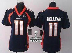 NEW Broncos #11 Trindon Holliday Blue Super Bowl XLVIII Women's NFL Jerseys(2014 New) 2014 Super Bowl XLVIII Jersey