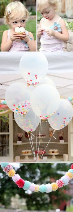 Confetti in balloons for a sprinkle party. Or for general cuteness.