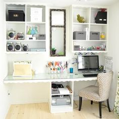 Love the mirrors in between the shelving units. Small spaces home office