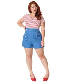 18b1272a1b Unique Vintage Plus Size 1940s Style Sky Blue High Waist Sailor Debbie  Shorts. Dress ...