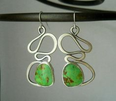 jewelry design ideas stone cabochons | abstract gaspeite earrings, sterling silver, stone cabochon, organic