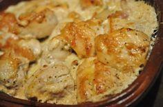 Kyllingebryst med bacon, ost og porrer