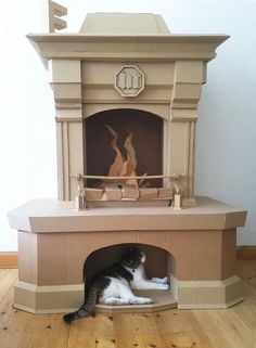 Paper Stuff – Cardboard creations by Bartek Elsner (LOL love it, I always wanted a fireplace and cats) 💜way out of my league! Maybe after mucho practice💜 Cardboard Cartons, Cardboard Box Crafts, Cardboard Design, Cardboard Sculpture, Cardboard Paper, Cardboard Furniture, Paper Crafts, Paper Clay, Victorian Dollhouse