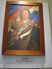 """Túpac Katari or Catari (also Túpaj Katari) (c. 1750–1781), born Julián Apasa Nina, was an early leader of the independence activists in Bolivia and a leader of an indigenous rebellion against the Spanish Empire in the early 1780s.  On his death on 15 November 1781, Katari's final words were: """"I die but will return tomorrow as thousand thousands."""""""