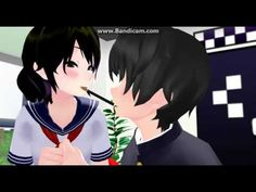 MMD x Yandere Simulator-Pocky Game-Yandere and Senpai- Pocky Game, Yandere Simulator, Videos, Fan Art, Animation, Comics, Games, Image, Anime Couples