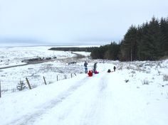 Snowy Saturday afternoon sledging. Rhigos mountain