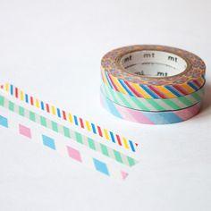 MT Set Of Three Slim Washi Tapes - Candy Stripes