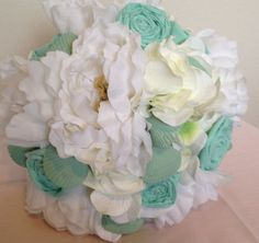 Beach Wedding Bouquet with Shells Mint Green and White by LCFloral, $85.00