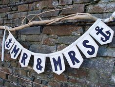 Nautical MR  MRS Banner with Anchor Detail. Beach Wedding Decor. Nautical Wedding Decor. Sign. Naval Wedding or Military Wedding Gift Idea. via Etsy