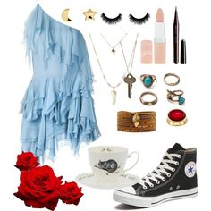 I Need My Wonderland by britishpepsi on Polyvore featuring polyvore, fashion, style, Yves Saint Laurent, Converse, Chan Luu, Karen Kane, Erica Weiner, The Giving Keys and Rimmel