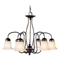 Home Basics Six-Light Bronze Chandelier