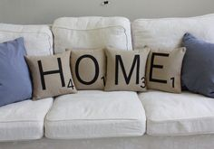 Scrabble cushions from Etsy | I should diy a couple of these...