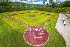 Backyard Baseball, Wiffle Ball, Softball Drills, Field Of Dreams, Tap Room, Backyard Games, Yard Design, Fun To Be One, Baseball Field