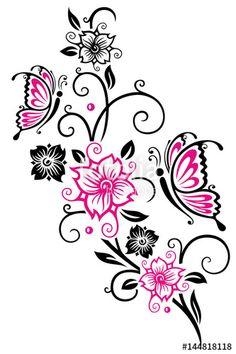 """Laden Sie den lizenzfreien Vektor """"Kirschblüten mit Ranke und Schmetterlingen,. Cherry blossoms with butterflies. """" von christine krahl zum günstigen Preis auf Fotolia.com herunter. Stöbern Sie in unserer Bilddatenbank und finden Sie schnell das perfekte Stockbild für Ihr Marketing-Projekt!"""