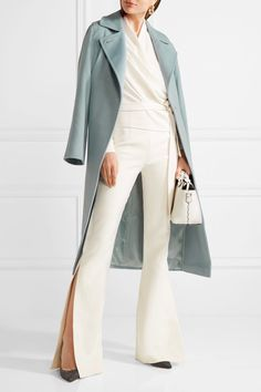 Sky-blue camel hair Concealed button fastening at front 100% camel hair; lining: 100% viscose Dry clean Made in Italy