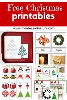 Montessori Nature: Free Christmas Printables - Learning Resources for Preschool Kids Montessori Activities
