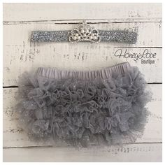 Rhinestone & Pearl Tiara Princess Crown headband - silver glitter and gray ruffle bloomers - newborn infant toddler baby girls