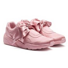 Fenty Puma x Rihanna Women's Satin Bow Sneakers ($160) ❤ liked on Polyvore featuring shoes, sneakers, pink, rubber sole shoes, puma footwear, puma trainers, puma shoes and puma sneakers