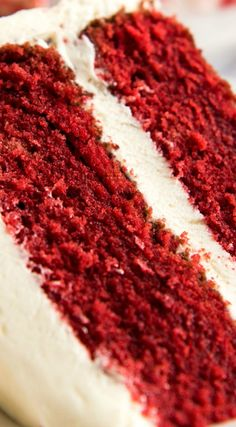"""A Moist, Classic Red Velvet Cake ~ Made from scratch, and surprisingly easy when a few simple steps are followed... This has a soft """"velvet"""" texture, just like what you get from top end fine bakeries. And topped with plenty – PLENTY – of cream cheese frosting!"""