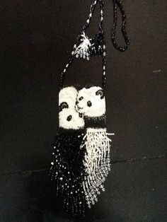 Giant Panda Beaded Bag Pouch by MellypoohsTreasures on Etsy, $75.00