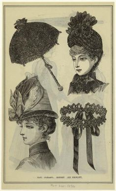 Hat. Parasol. Bonnet. Jet Necklet. 1886 (Via NYPL)