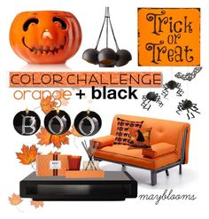 """Halloween Home"" by mayblooms ❤ liked on Polyvore featuring Pillow Decor, Pier 1 Imports, Nest Fragrances, Meri Meri, White Label, orangeandblack and colorchallenge"