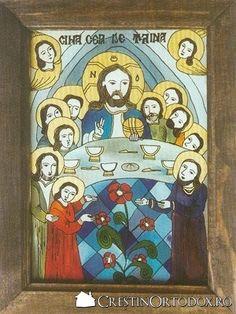 Imagini pentru icoane pe sticla cina cea de taina Sacred Art, My Arts, Traditional, Glass, Frame, Painting, Decor, Picture Frame, Decoration