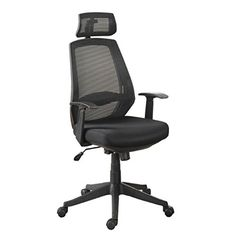 Poundex Mesh Back Caster Office Chair, Black
