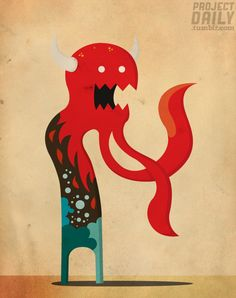 Hot and Cold Monster vector character illustration by Project Daily