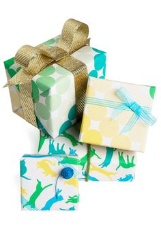 Presents Day Wrapping Paper Set. Give every gift the thoughtful personal touch it deserves by tucking it into this wowing wrapping paper!  #modcloth
