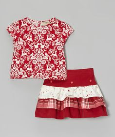 Another great find on #zulily! Red Reindeer Top & Tiered Skirt - Toddler & Girls #zulilyfinds
