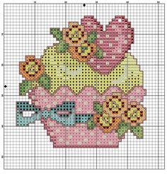 Cupcake  free cross stitch pattern