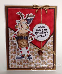 Reindeer Games from Art Impressions.  Dig her funky outfit on this Christmas card!!