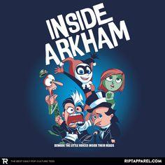 Batman Villain T-Shirt by Zac Atkinson aka evilbyzac. Inside Arkham is an Inside Out parody for fans of Batman villains. Batman Wall Art, Joker Und Harley Quinn, Nananana Batman, Arte Nerd, Day Of The Shirt, Univers Dc, Pokemon, I Am Batman, Batman Stuff