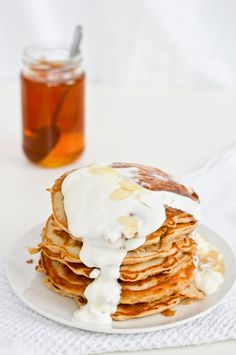 pear pancakes with greek yogurt and honey