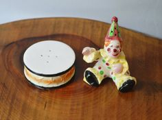 Vintage Salt And Pepper Shakers, Clown And Drum, Collectible Salt And Pepper