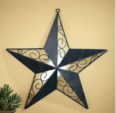 Rustic Metal Star Wall Art Remote Control Led Light Country Western Home Decor